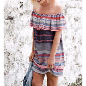 Topshop Striped Bardot Dress Off Shoulder 4